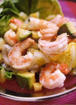 shrimp with avocados