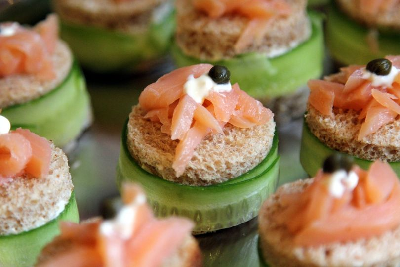 cucumber and smoke salmon finger sandwiches with creme fraiche