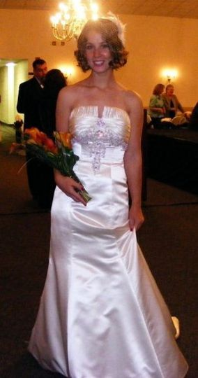 Here is Melissa at one of our fashion shows.... she looks amazing in this classic Jasmine gown with...