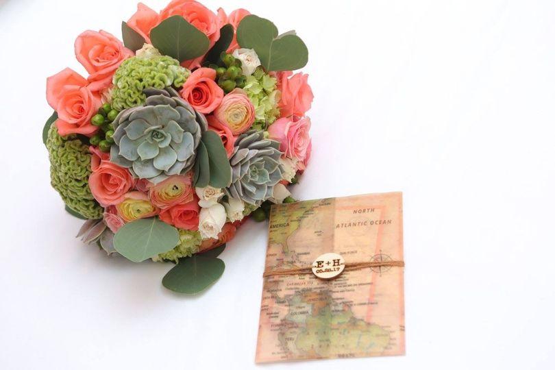 bridal bouquet and invitation