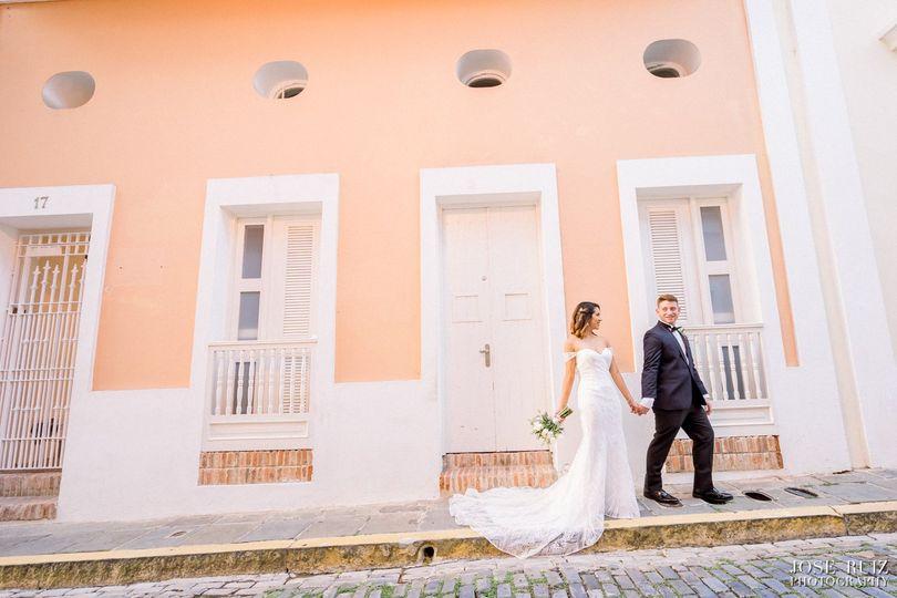 Bride in groom in old San Juan