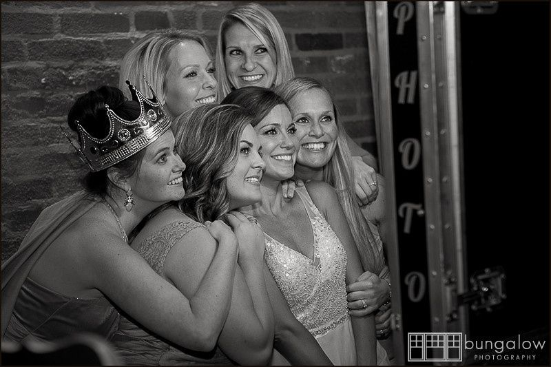 A bride and her maids having a blast in the Grins and Giggles photo booth  Photo by Bungalow...