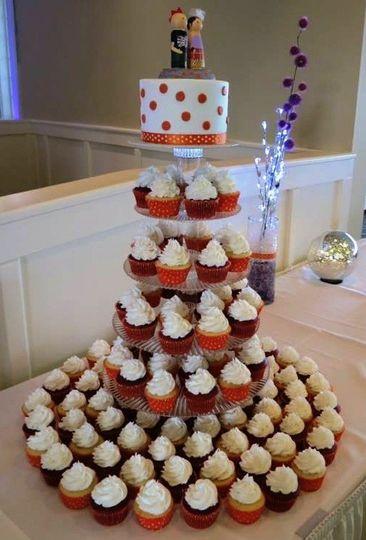 orange and white polka dot cupcake wedding 2013