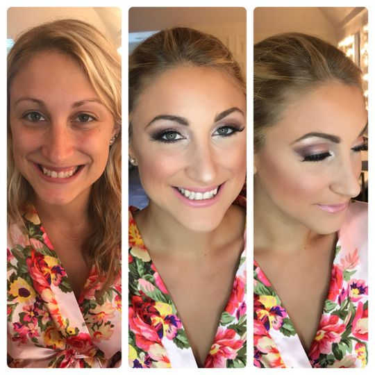Wedding makeup transformation