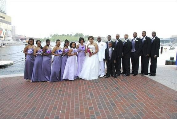 The couple with the bridesmaids and groomsmen