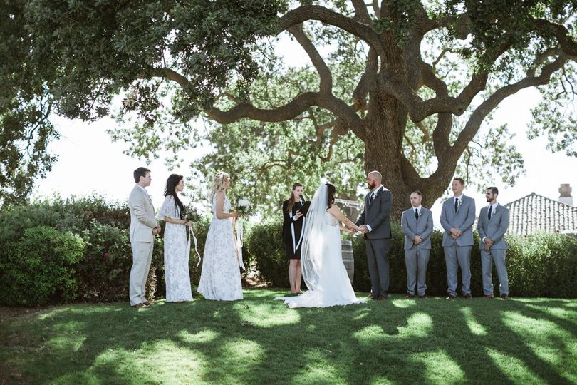 Wedding ceremony by the trees