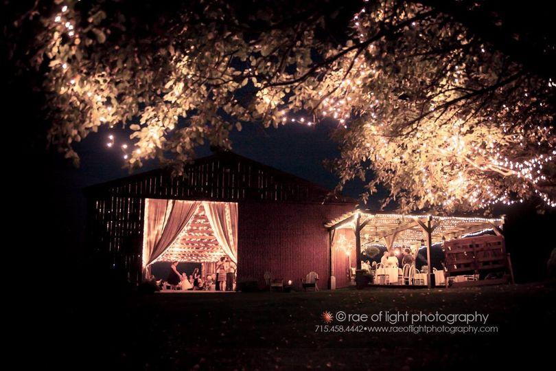on twin lakes barn at night