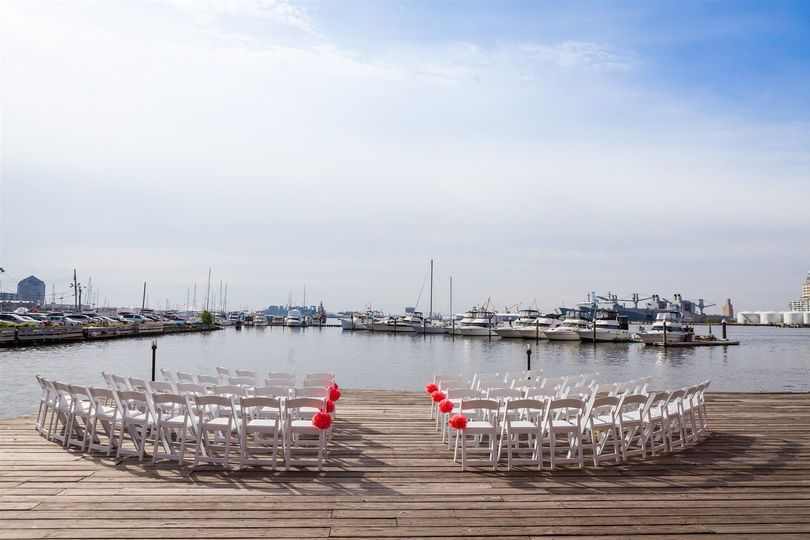 Outdoor wedding ceremony area at the  Inn at Henderson's Wharf