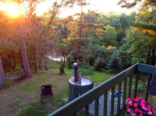 Sunset view from Deck overlooking river.