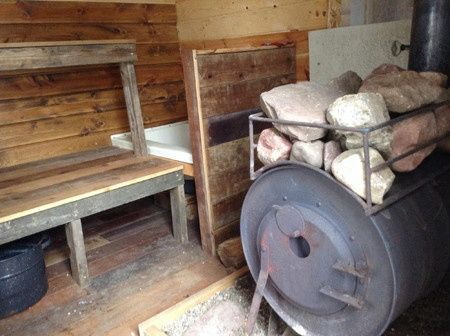 Wood-stove sauna near the retreat.
