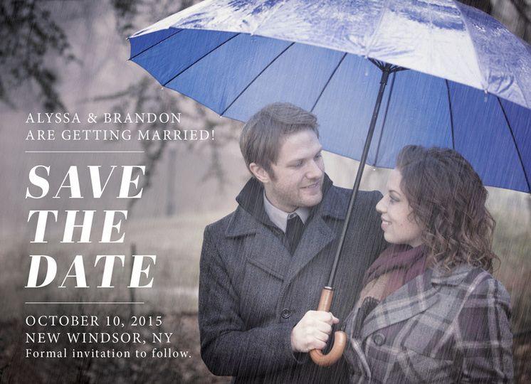 Alyssa & Brandon save the date. Photo Credit: Varuzzo Photography.