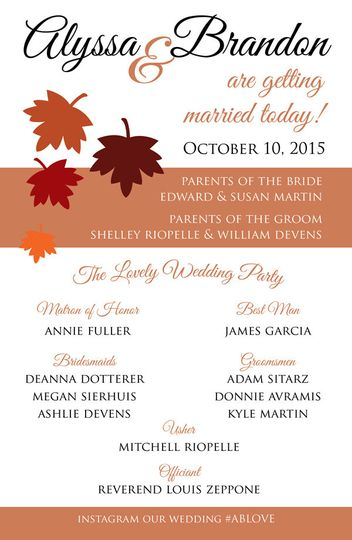 Alyssa & Brandon wedding programs.