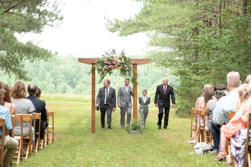 Wedding ceremony in woods
