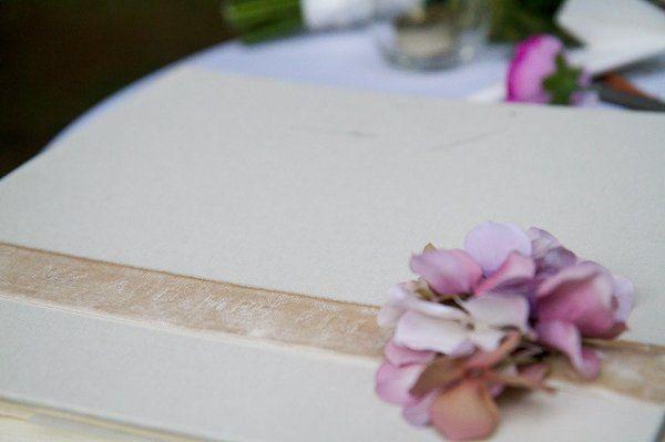 velvet ribbon with flower guest book