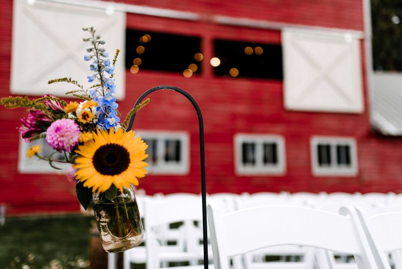 Outdoor ceremony with flowers