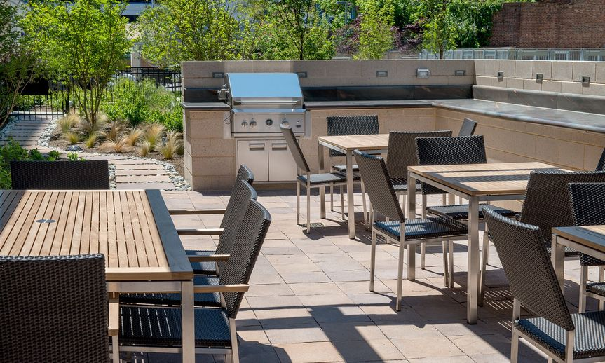 Back of Hotel Outdoor Terrace: Grill Area