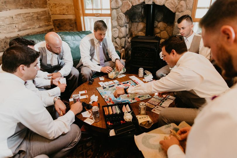Groom and groomsmen playing games