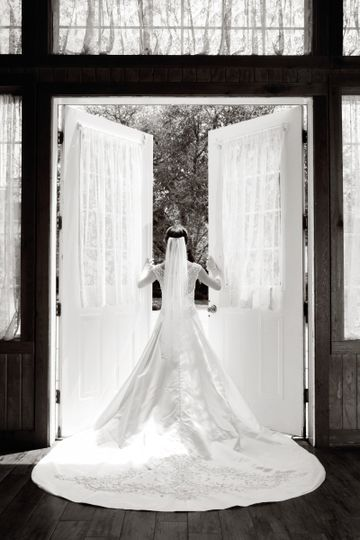 Bride opening the doors