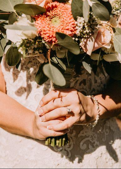 Bride holding the bouquet