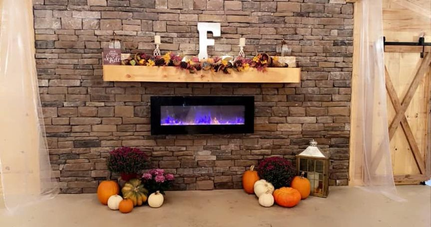 The stone fireplace