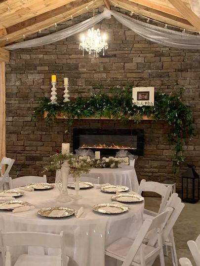 The fireplace and tables