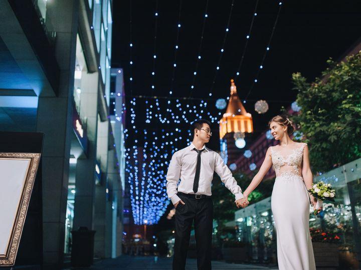 Tmx Happy Newlyweds Stroll Through The Night City And The Evening Boulevard International Wedding Of Asian And European Women  51 1024547 New York, New York wedding dj