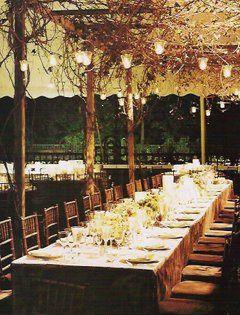 Outdoor evening reception setup