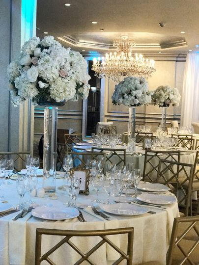 white tall centerpiece