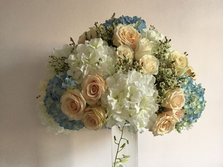 Tmx 1508348195890 Royal Regency Tall Arrangement Light Blue Sahara R Yonkers, NY wedding florist