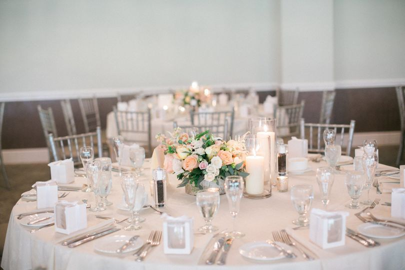 Table with flower centerpiece