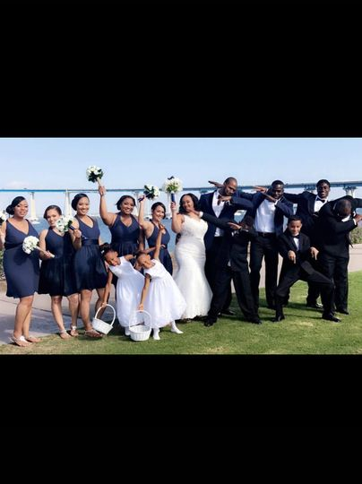 The couple and wedding party