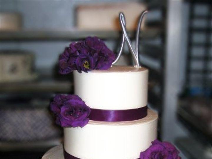 Tmx 1310418425335 WeddingCakePurpleRibbonPurpleFLowers Claremont, California wedding cake