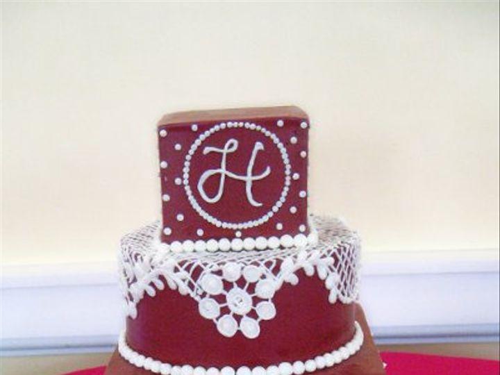 Tmx 1310418465493 WeddingCakeRedandWhiteLaceBUttercream Claremont, California wedding cake
