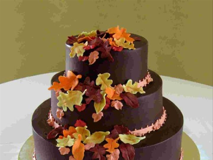 Tmx 1310419865330 WeddingCakeOakFallLeaves Claremont, California wedding cake