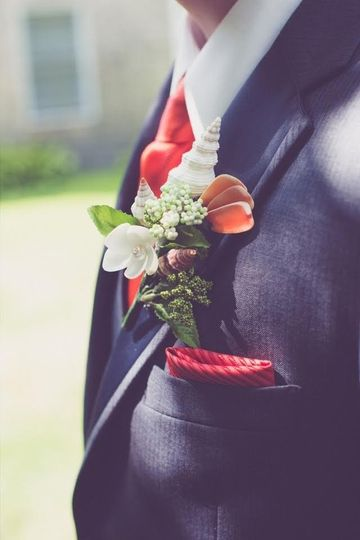 Boutonniere in coral