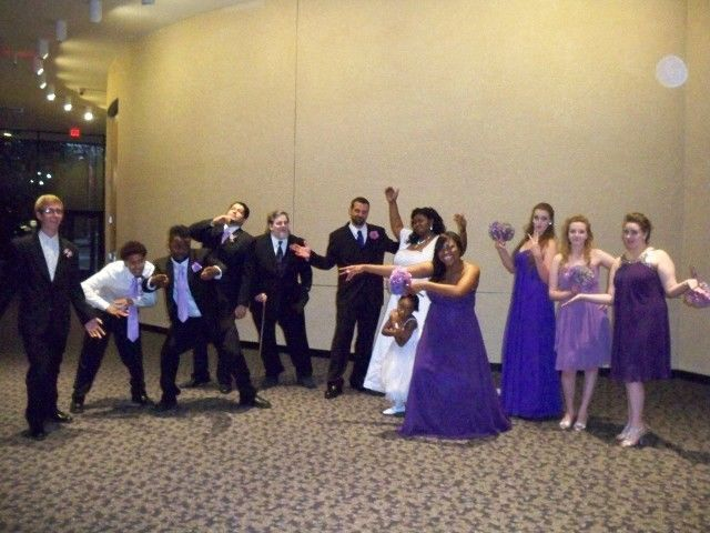 The couple and wedding attendants