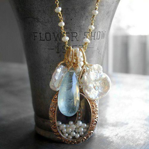 Necklace - Freshwater pearls, opal, aquamarine, antique locket
