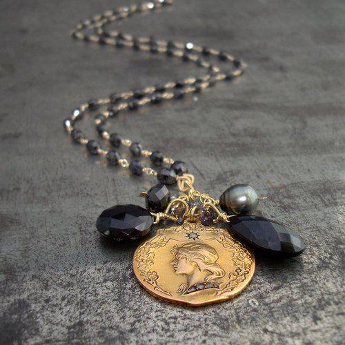 Freya Necklace - Black diamonds, antique 18k gold pendant