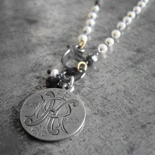 Antique 1875 Love Token engraved with initials HR on a chain of 18k gold and blackened sterling...