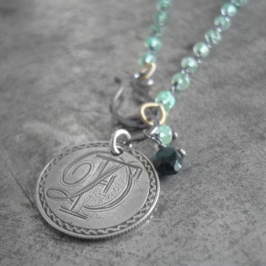 Antique 1874 Love Token engraved with initials DF, on a chain of blackened sterling silver and 18k...