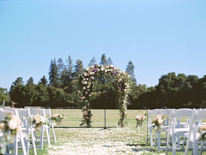 Flower-draped arch