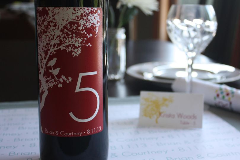 red tree wine label table numbers