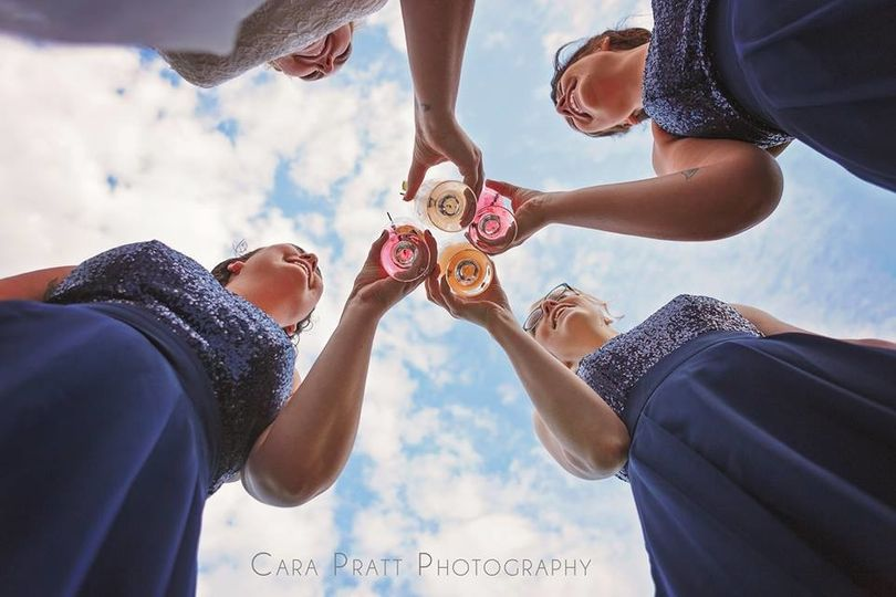 Toast from bride and bridesmaids
