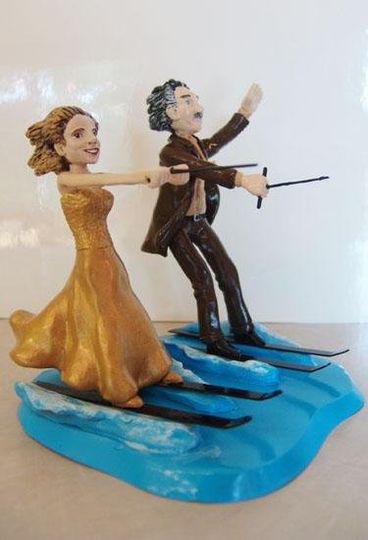 Two water ski enthusiasts wanted a topper to reflect their passion.  In wedding attire.