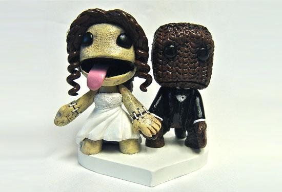 Topper based on the video game Little Big Planet, in actual wedding attire.