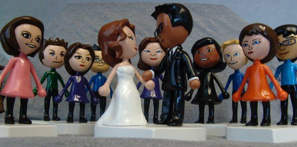 Wedding Mii Cake Topper and Personalized Mii Wedding Party Gifts.