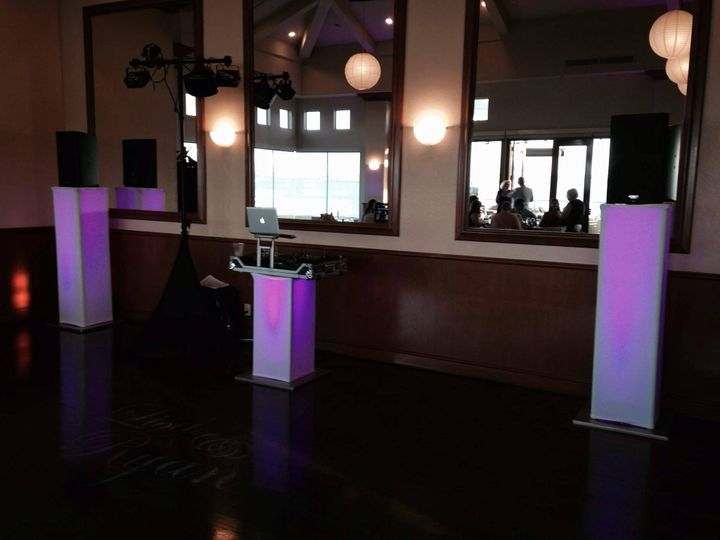 clean wedding set up with gobo