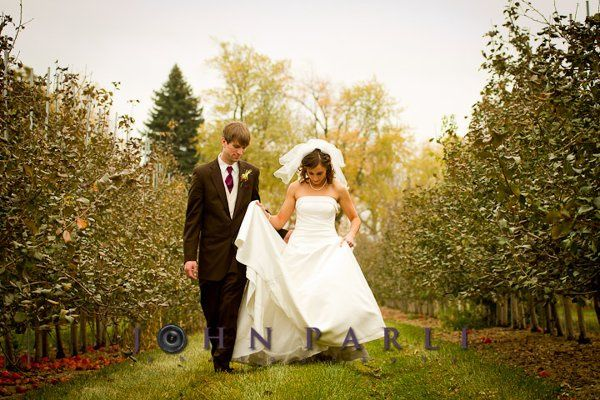 Beautiful portrait of bride and groom walking together in apple orchard outside of Rockford IL.
