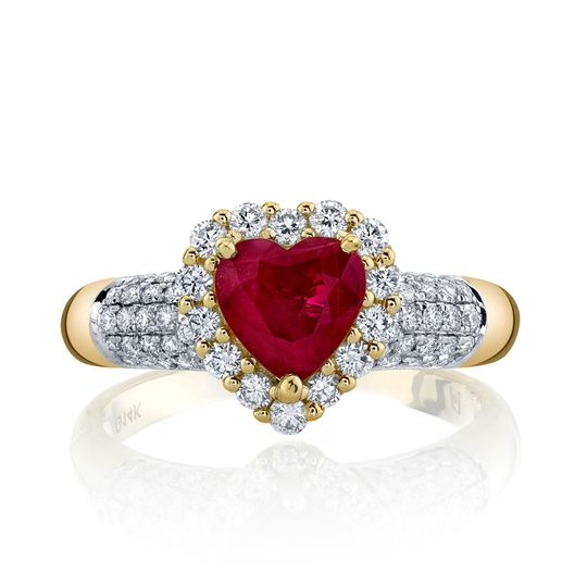 1.38 carat heart-shaped ruby ring