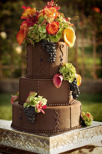 """Fall Inspired Wedding Cake for a wedding in an olive orchard by Let's Do Cake! 13, 10 & 7"""" mixed..."""
